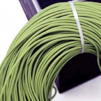 Kožená šňůrka kulatá zelínkavá, tl. 2 mm