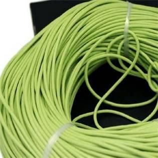 Kožená šňůrka kulatá jablíčkově zelená, tl. 2 mm