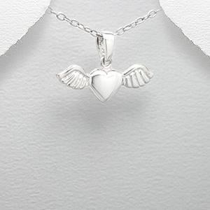 Stříbrný přívěšek srdíčko s křídly