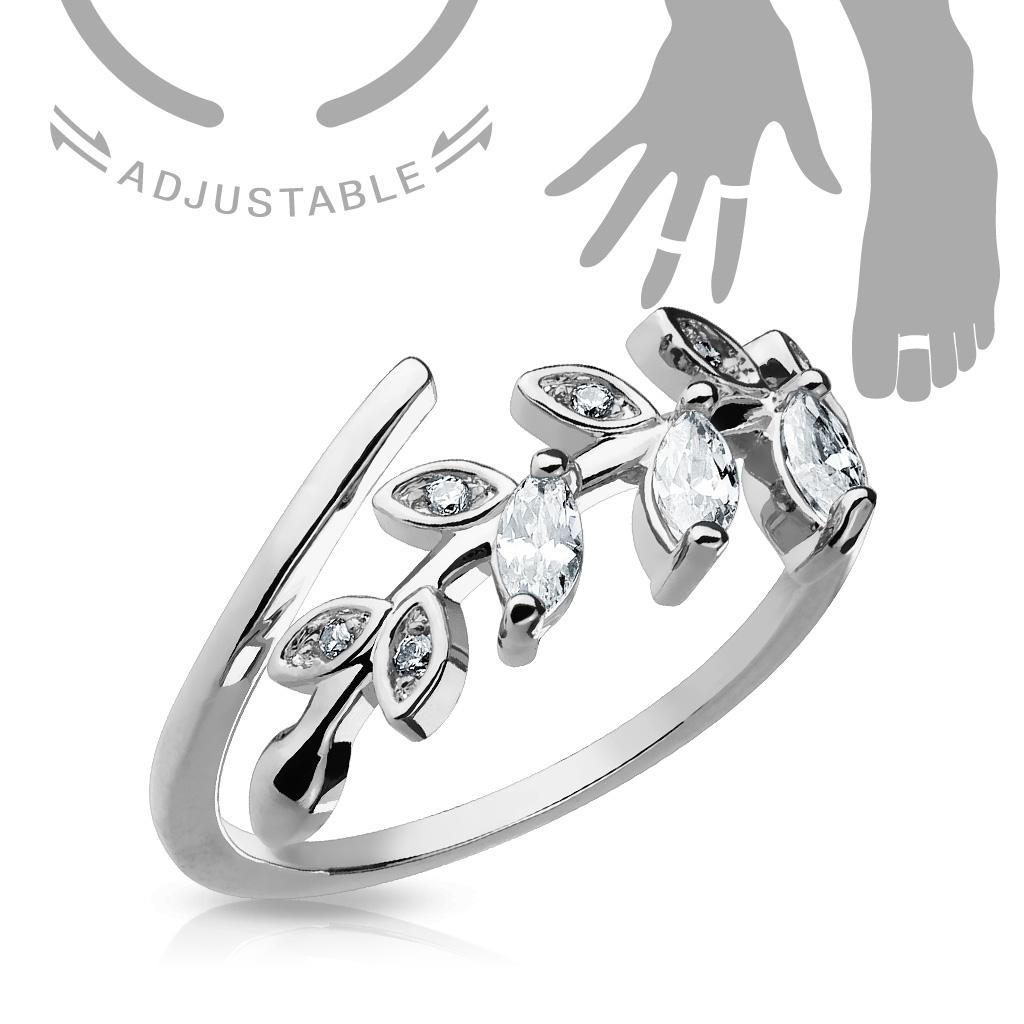 Prsten na nohu - větvička se zirkony