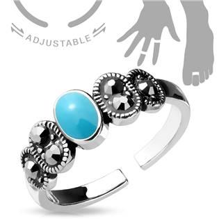 Šperky4U Prsten na nohu s tyrkysovým středem - velikost universální - PNB1013