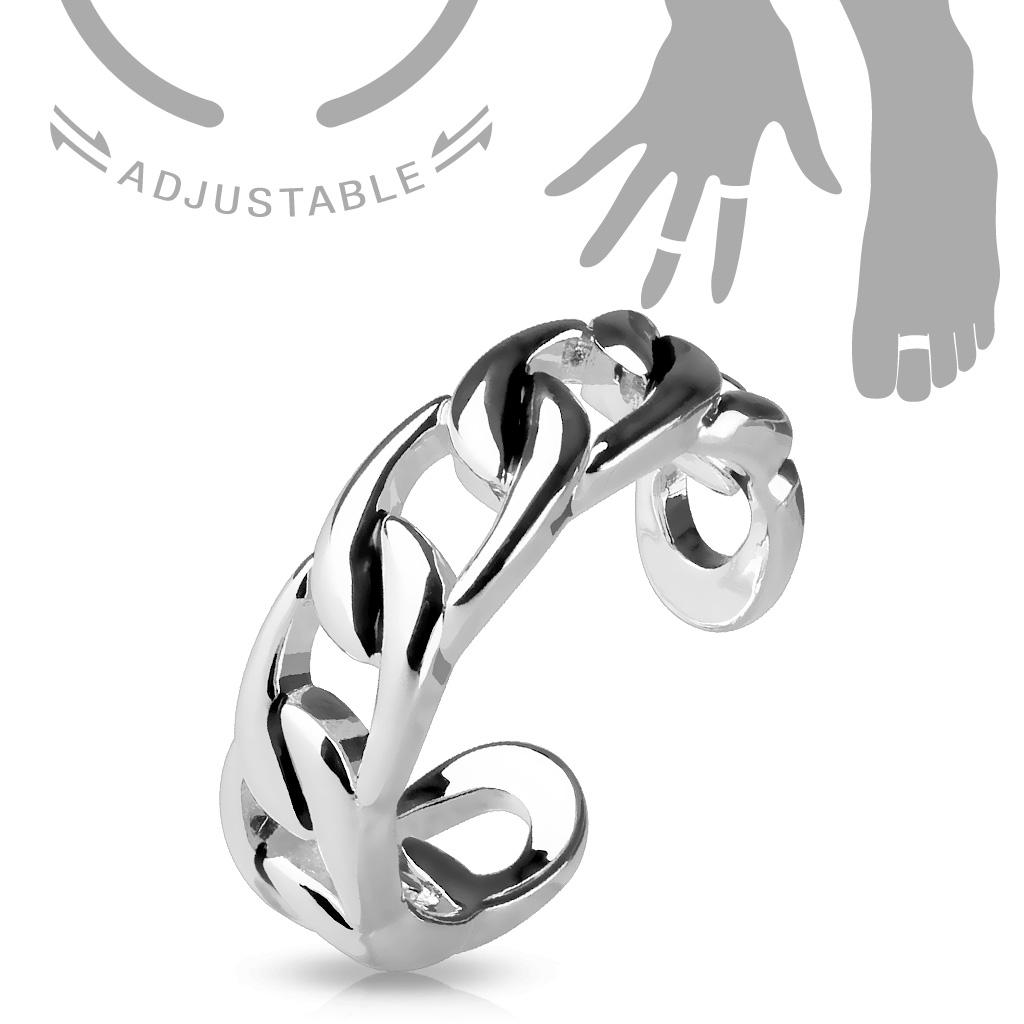 Postriebrené prsteň na nohu - reťaz