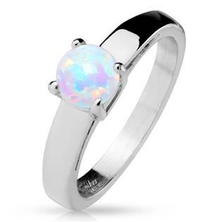Ocelový prsten s kulatým opálem