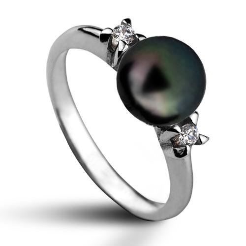 Strieborný prsteň s prírodnou perlou 7,5 mm
