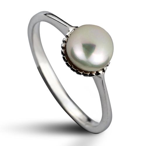 Strieborný prsteň s prírodnou perlou 5,5 mm