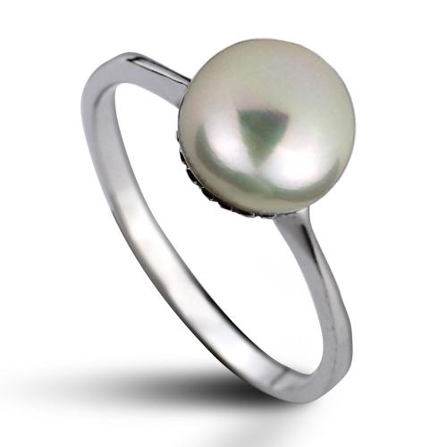 Strieborný prsteň s prírodnou perlou 8 mm