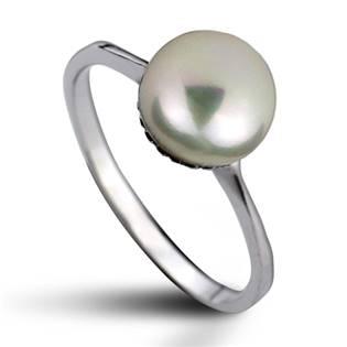 Stříbrný prsten s přírodní perlou 8 mm