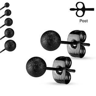 Šperky4U Ocelové náušnice - kuličky černé matné - OPN1039-5