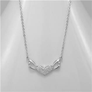 Stříbrný náhrdelník  - okřídlené srdce