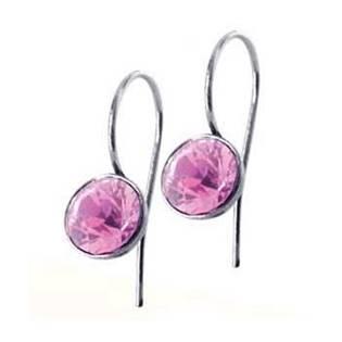 Ocelové náušnice s kulatými krystaly Swarovski®, Rose