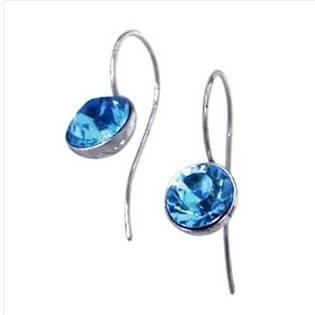 Ocelové náušnice s kulatými krystaly Swarovski®, Aqua