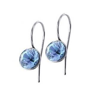 Ocelové náušnice s kulatými krystaly Swarovski®, Light Blue