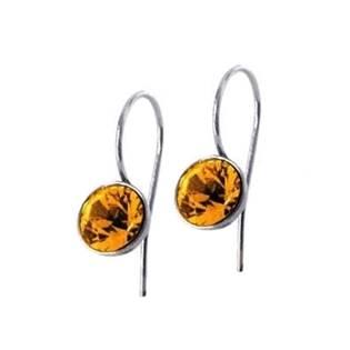 Ocelové náušnice s kulatými krystaly Swarovski®, Topaz