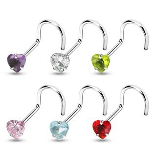 Šperky4U Zahnutý piercing do nosu - srdíčko 3 mm - N01057-P