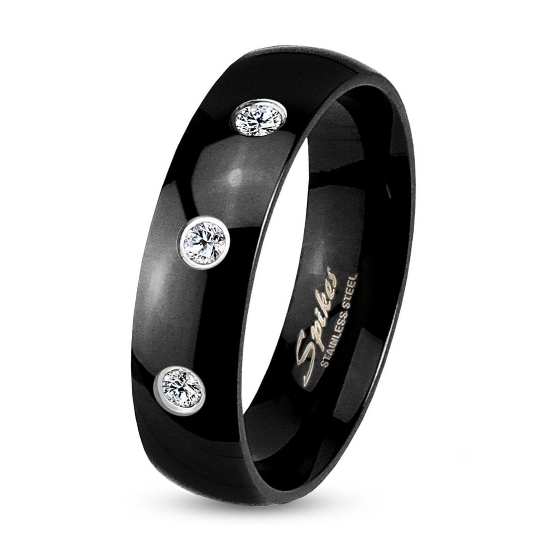 Čierny oceľový prsteň šírky 6 mm