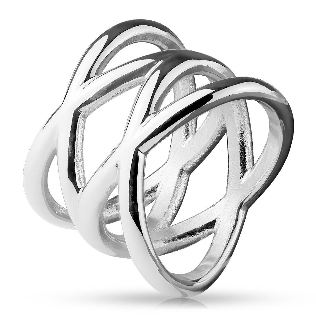 Dámsky prepletaný oceľový prsteň