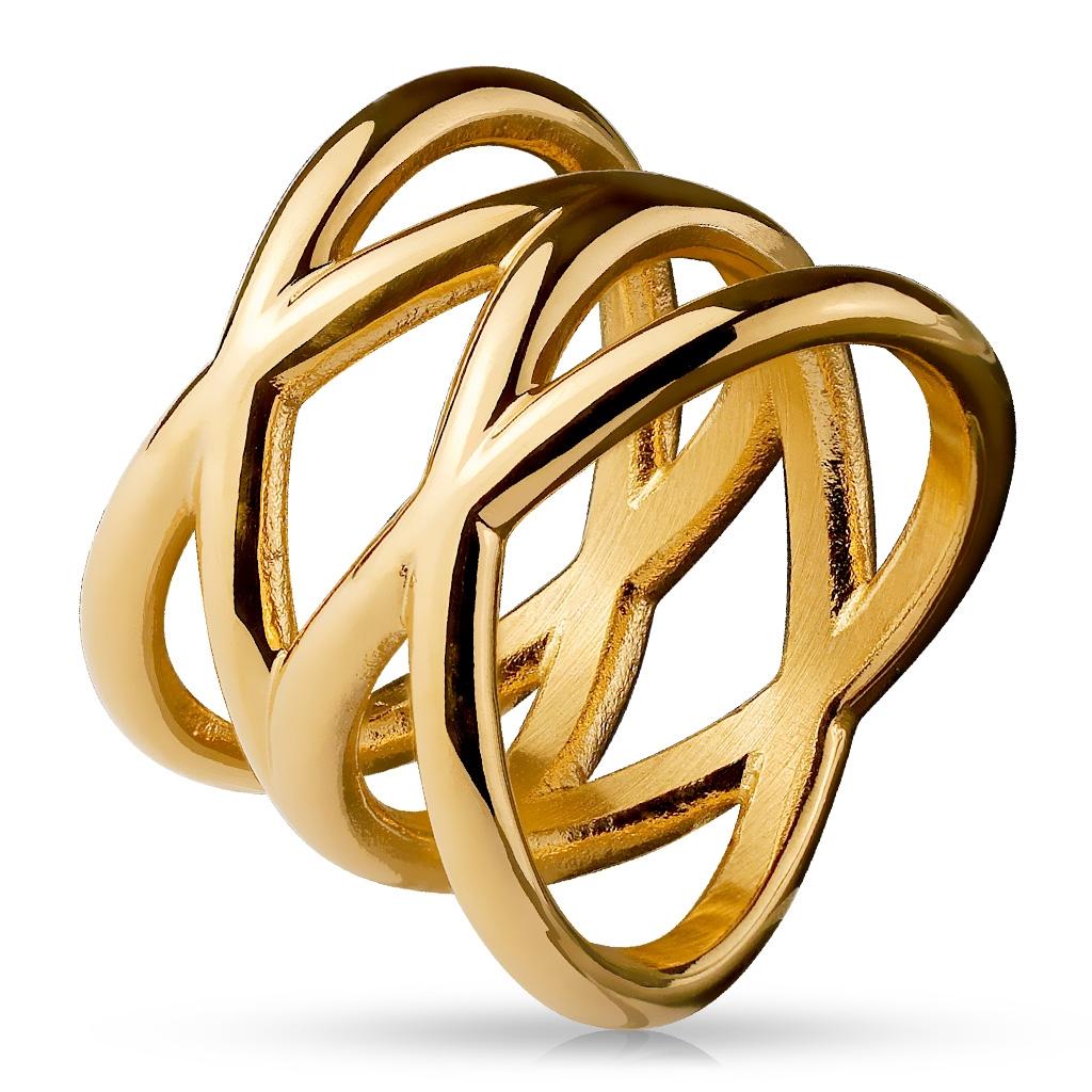 Dámsky pozlátený prepletaný oceľový prsteň