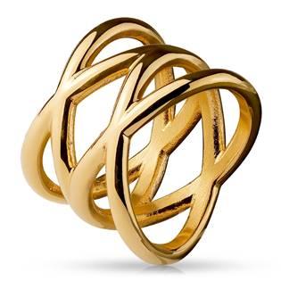 Dámský zlacený proplétaný ocelový prsten