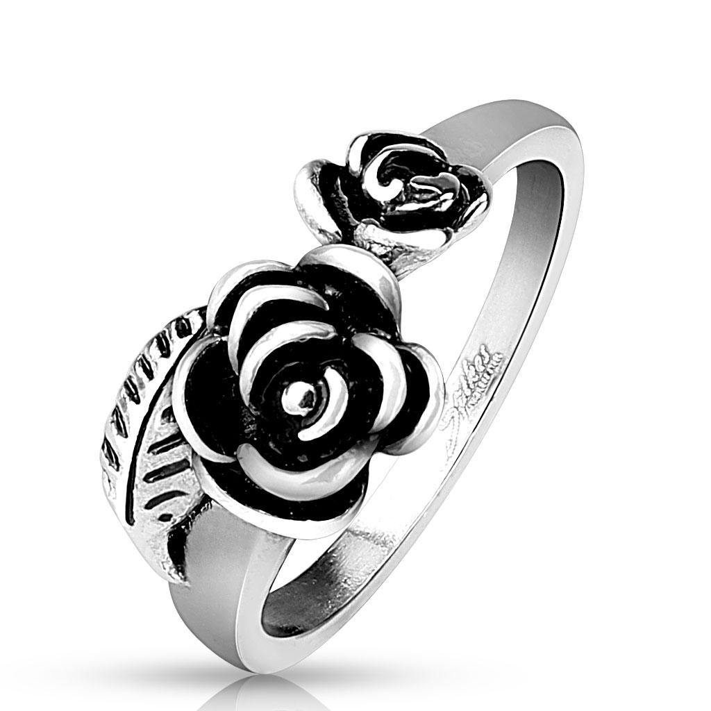 Dámsky oceľový prsteň ružičky