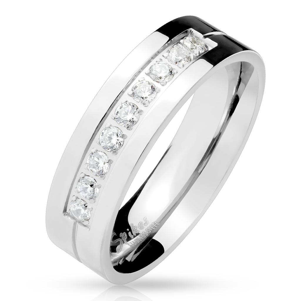 Dámsky oceľový prsteň so zirkónmi