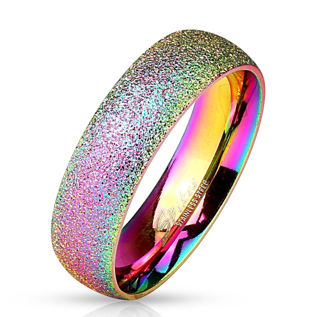 Dúhový oceľový prsteň pieskovaný, šírka 6 mm