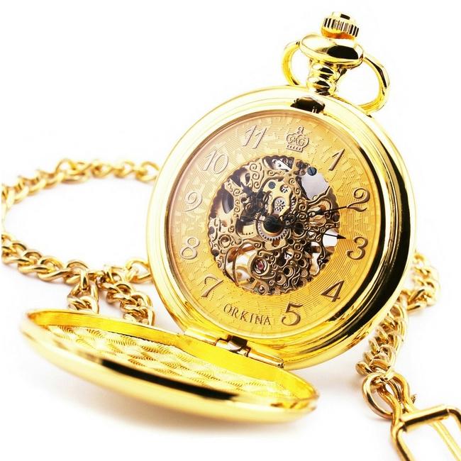 Mechanické pozlátené vreckové hodinky otváracie - cibule