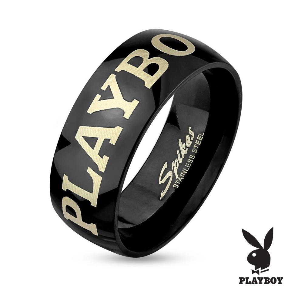 Čierny oceľový prsteň Playboy, šírka 6 mm