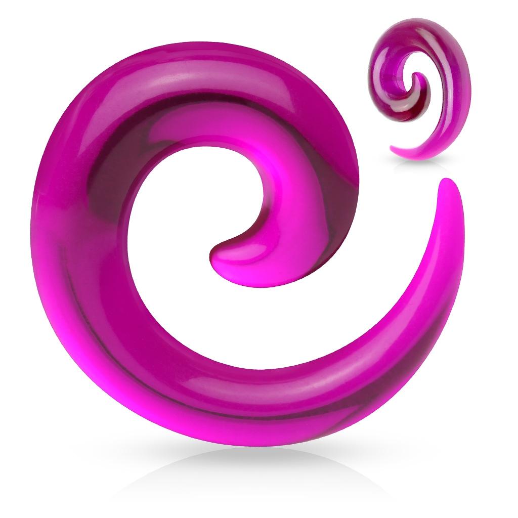 Rozťahovák do ucha - špirála fialová