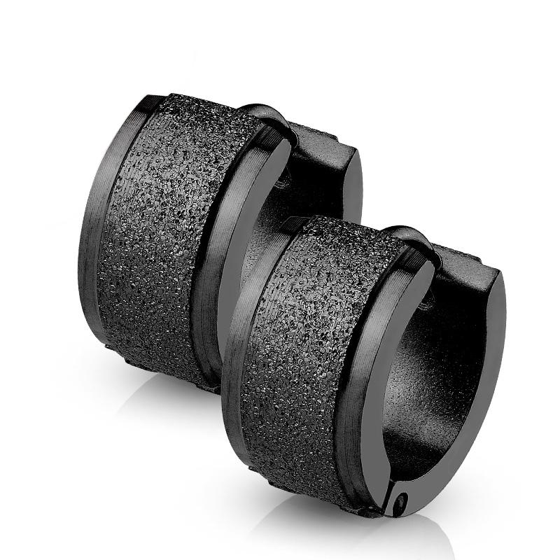 Čierne oceľové náušnice - krúžky