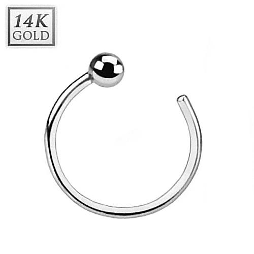 Zlatý piercing do nosu kruh, 0,8 x 8 mm, Au 585/1000 ZL01039-WG