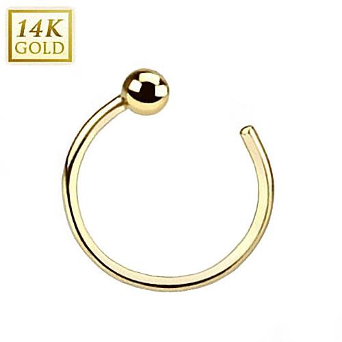 Zlatý piercing do nosu kruh, 0,8 x 8 mm, Au 585/1000 ZL01039-YG