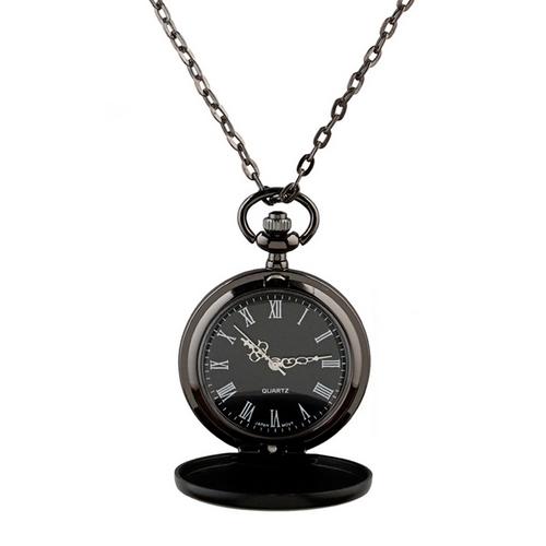 Malé vreckové hodinky otváracie čierne - cibule