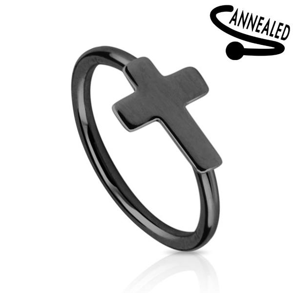 Čierny piercing do nosa / ucha kruh s krížikom
