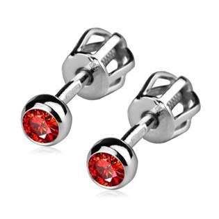 Stříbrné šroubovací náušnice, červené zirkony ZB23056-R