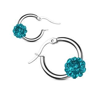 Šperky4U Ocelové náušnice kroužky, tyrkysové kamínky - OPN1320-Q
