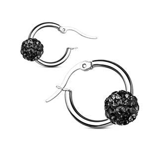 Šperky4U Ocelové náušnice kroužky, černé kamínky - OPN1320-K