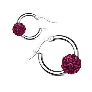 Šperky4U Ocelové náušnice kroužky, fialové kamínky - OPN1320-A