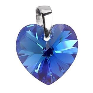 Stříbrný přívěšek srdce z dílny Crystals from Swarovski®, Blue 10x10 mm