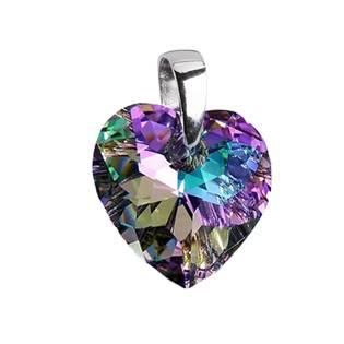 Stříbrný přívěšek srdce z dílny Crystals from Swarovski®, Vitrail Light 14x14 mm