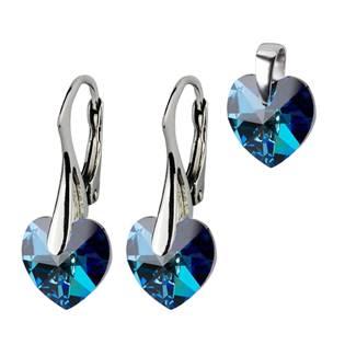 Stříbrné náušnice a přívěšek srdíčka s krystaly Crystals from Swarovski®, Montana Blue