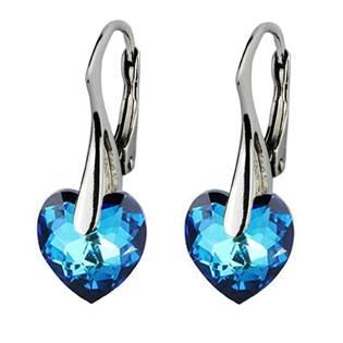 Stříbrné náušnice srdíčka s krystaly Crystals from Swarovski®, Montana Blue