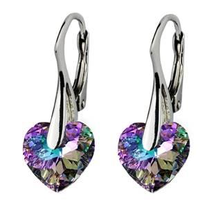 Stříbrné náušnice srdíčka s krystaly Crystals from Swarovski®, Vitrail Light