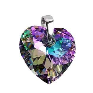 Stříbrný přívěšek srdce z dílny Crystals from Swarovski®, Light Vitrail 17x17 mm