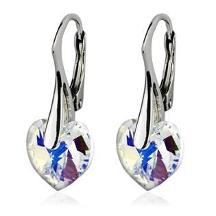 Stříbrné náušnice srdíčka s krystaly Crystals from Swarovski®, Crystal AB