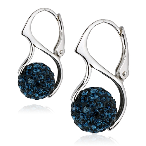 Strieborné náušnice guličky s kryštálmi Crystals from Swarovski ®, Dark Blue