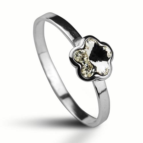 Strieborný prsteň s kytičkou Crystals from SWAROVSKI®