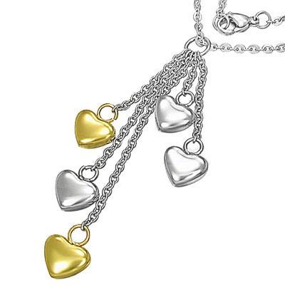 Dámsky oceľový náhrdelník s pozlátenými srdiečkami