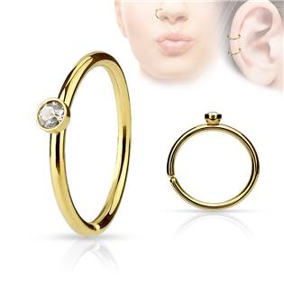 Zlacený piercing do nosu/ucha kruh