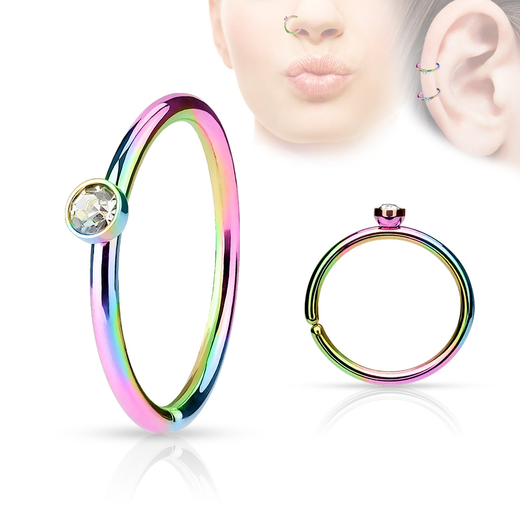 Dúhový piercing do nosa / ucha kruh