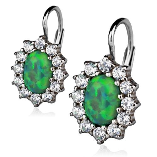 Strieborné náušnice so zirkónmi a zeleným opálom